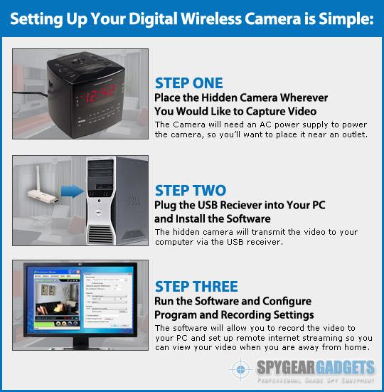 Digital Wireless Alarm Clock Hidden Camera Nanny Cam with ...